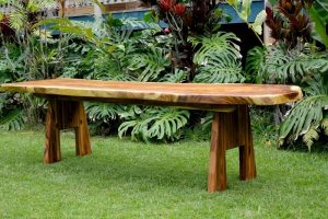 Luau Table and Benches Monkey Pod 9' Long